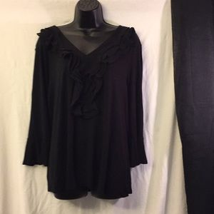 New Directions Black V-Neck Blouse With Ruffles L